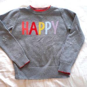 Gap Kids Sweater Size 6-7 Grey Rainbow Color Happy